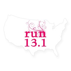 run 13.1 USA Sticker
