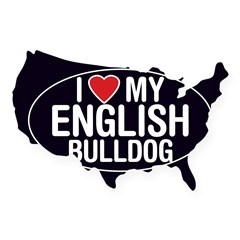 I Love My English Bulldog Oval Sticker/Decal USA Sticker