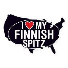 I Love My Finnish Spitz Oval Sticker/Decal USA Sticker