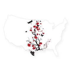 Black and Red Flower USA Sticker