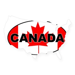Canadian Flag Oval USA Sticker