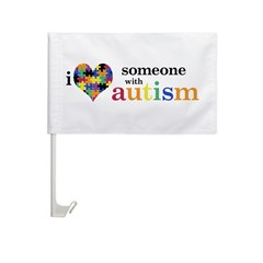 I HEART Someone with Autism - Car Flag