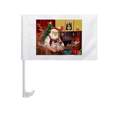 Santa's fawn Pug pair Car Flag