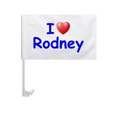 I Love Rodney (Blue) Car Flag