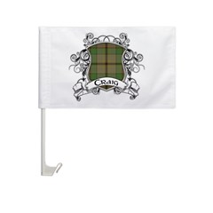 Craig Tartan Shield Car Flag