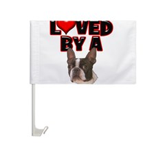 Loved by a Boston Terrier Car Flag