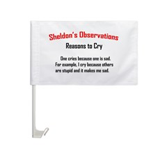 Sheldon's Reasons to Cry Car Flag