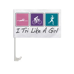 Tri Like A Girl Triathlete Car Flag