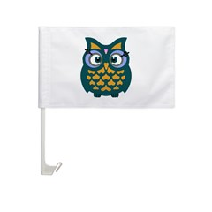 Retro Owl Car Flag