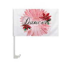 Dancer Pink Snow Flower Car Flag