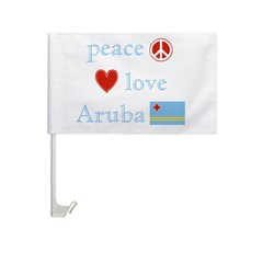 Peace, Love and Aruba Car Flag