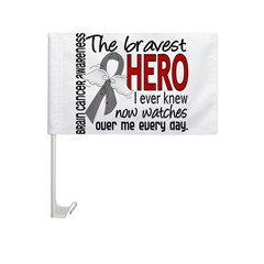 Bravest Hero I Knew Brain Cancer Car Flag