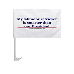 My labrador retriever is smarter (bumper sticker) Car Flag