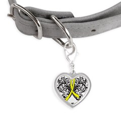 Butterfly Testicular Cancer Small Heart Pet Tag