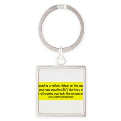 Yellow Ribbon Square Keychain