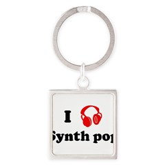 Synth pop music Square Keychain