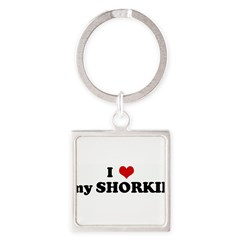 I Love my SHORKIE Square Keychain