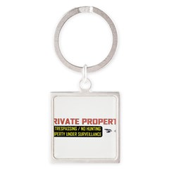 3 x 10 No Trespassing Decal Square Keychain