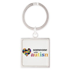 I HEART Someone with Autism - Square Keychain