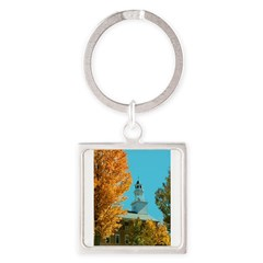 Vermont Country Church Square Keychain
