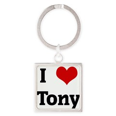 I Love Tony Square Keychain