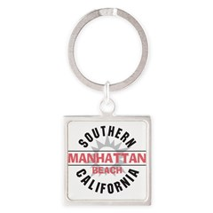 Manhattan Beach CA Square Keychain