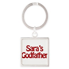 Sara's Godfather Square Keychain
