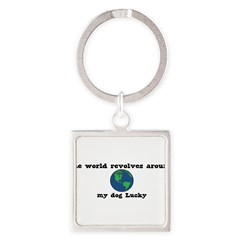 World Revolves Around Lucky Square Keychain