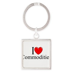 """I Love (Heart) Commodities"" Square Keychain"