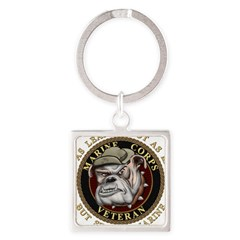 Devil Dog Vet Square Keychain