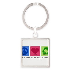 Peace Love Recycle Square Keychain