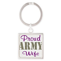 Army Purple Home/Office Square Keychain