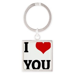 I Love YOU Square Keychain