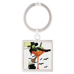 Halloween Martini Girl Square Keychain