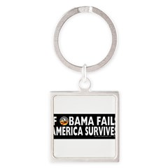 Anti-Obama Obama Fails America Survives Square Keychain