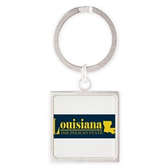 Louisiana Gold Square Keychain