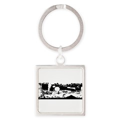 Lost Island White Square Keychain