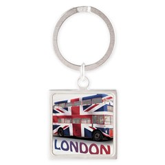 London Bus with Union Jack an Square Keychain