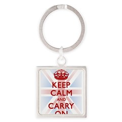 Keep Calm and Carry On Square Keychain