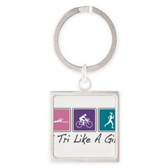 Tri Like A Girl Triathlete Square Keychain