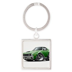 1970 AMX Green Car Square Keychain