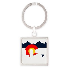 Colorado Rockies Flag Square Keychain