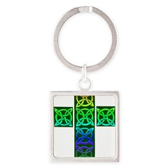 Glowing Celtic Cross Square Keychain