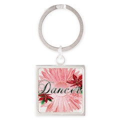 Dancer Pink Snow Flower Square Keychain
