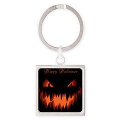 Happy Halloween Pumpkin Square Keychain