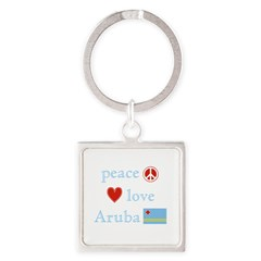 Peace, Love and Aruba Square Keychain
