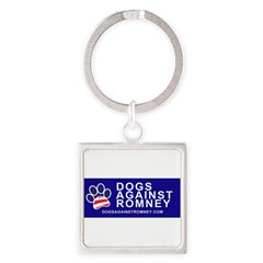 Official Dogs Against Romney Paw Square Keychain