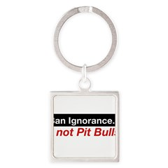 Bumper Sticker - Ban Ignorance... not Pit Bull Square Keychain