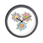Pretty Mother's Day Cartoon Flowers Wall Clock