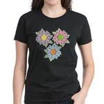 Pretty Mother's Day Cartoon Flowers Women's Dark T